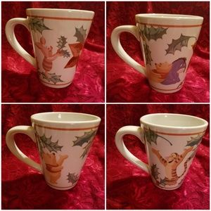 Disney Winnie the Pooh Christmas Mugs-Set of 4